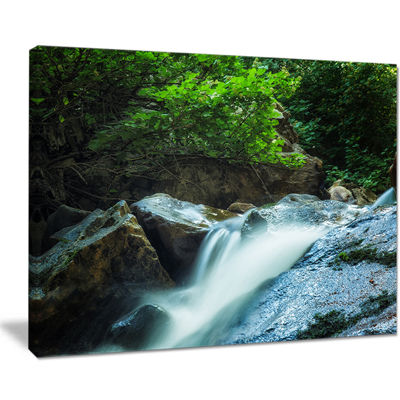 Designart Water Slide Over The Moss Canvas Art