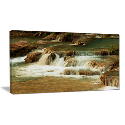 Designart Waterfall Cascade With White Waters Canvas Art
