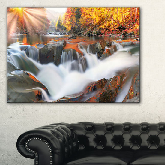 Designart Waterfall Probiy In Prut River Canvas Art