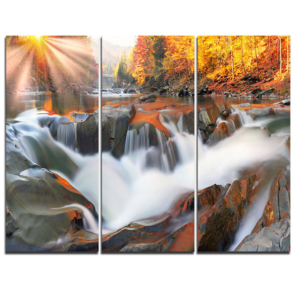Designart Waterfall Probiy In Prut River 3-pc. Canvas Art
