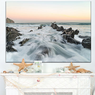 Designart Waves Hitting Beach At Sunrise Atlantic Canvas Art
