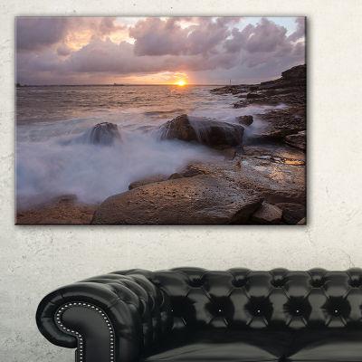 Designart Waves Hitting Rocks In Australia Coastline Canvas Art