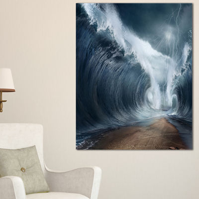 Designart Waves Over The Parted Sea Path Canvas Art