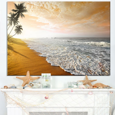 Designart Wavy Clouds Over Seashore Canvas Art