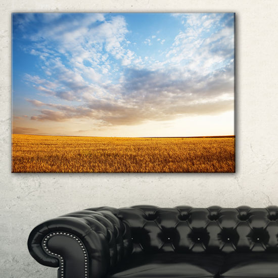 Designart Wheat Field Under Summer Sky Canvas Art