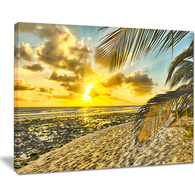 Designart White Caribbean Beach With Palms Canvas Art