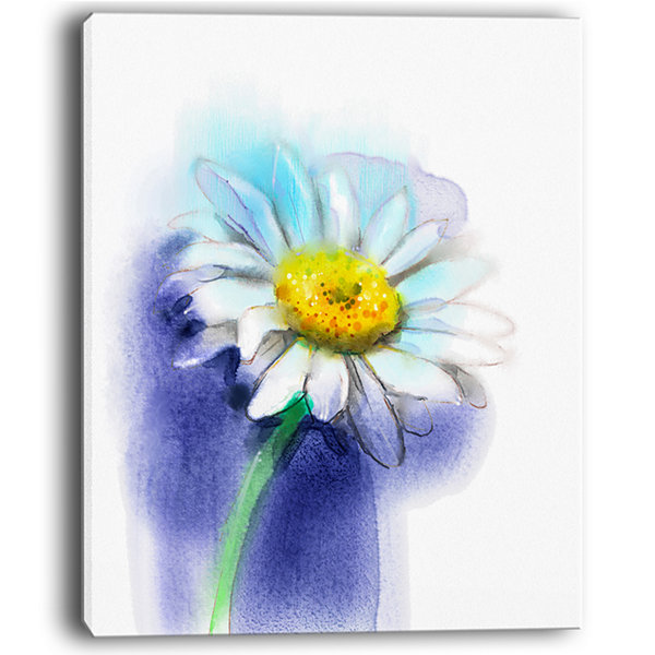 Designart White Gerbera Daisy In Blue Canvas Art