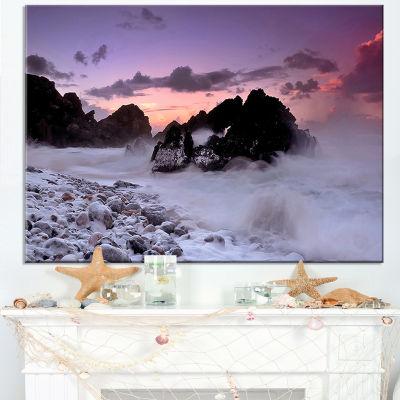 Designart White Sand At Abano Beach Portugal Canvas Art
