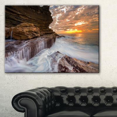 Designart White Sea Waters At Coogee Beach Canvas Art