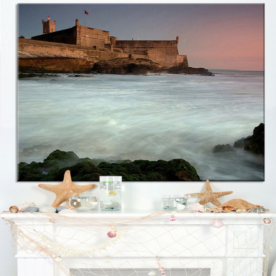 Designart White Seascape At Old Fort Lisbon Canvas Art