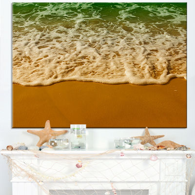 Designart White Waves From Green Beach Waters Canvas Art