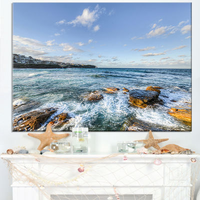 Designart White Waves In Bondi Beach Canvas Art