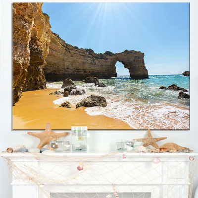 Designart Wide Portugal Beach With White Waters Canvas Art