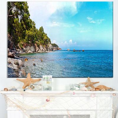 Designart Wild Blue Beach Panorama View Canvas Art