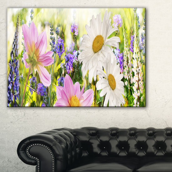 Designart Wild Flowers Field At Sunset Canvas Art