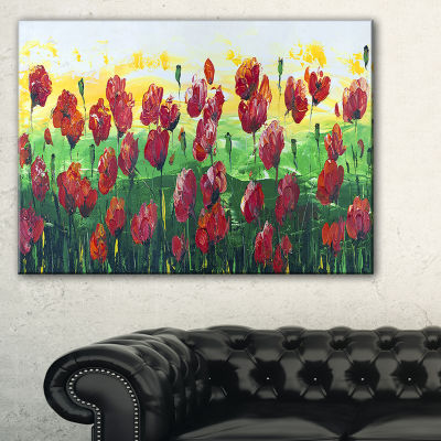 Designart Wild Red Poppies Field Panorama Canvas Art