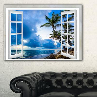 Designart Window Open To Cloudy Blue Sky Canvas Art