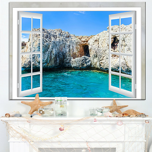 Designart Window Open To Sunny Summer Sea Canvas Art