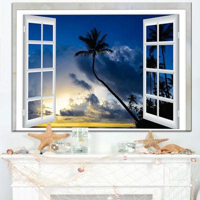 Designart Window To Beach With Coconut Palms Canvas Art