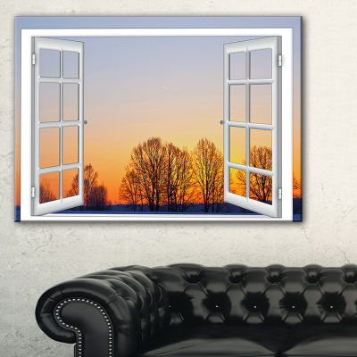 Designart Window To Sunset Over The Snow Canvas Art