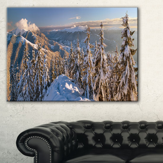 Designart Winter Carpathians Panoramic View Canvas Art