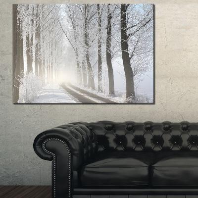Designart Winter Lane In Foggy Morning 3-pc. Canvas Art