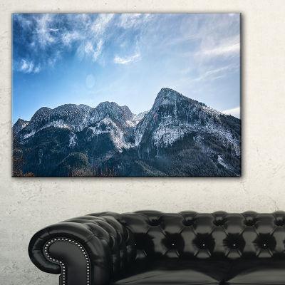 Designart Winter Mountains With Sun Flare Canvas Art