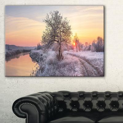 Designart Winter Sunrise Over Frosty Field Canvas Art