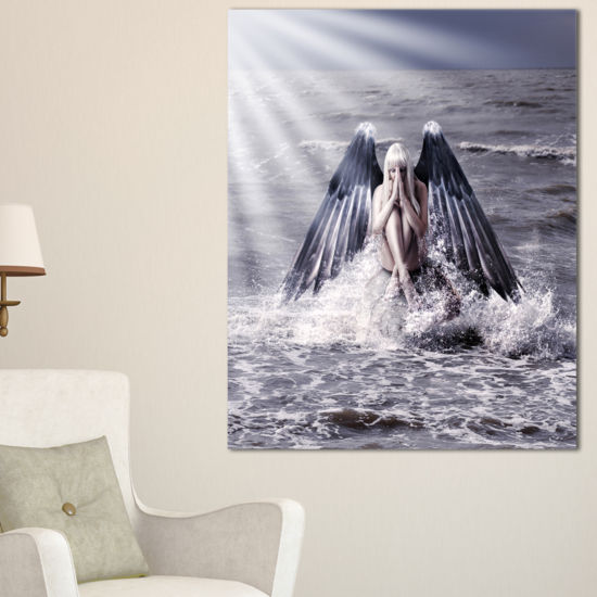 Fabulous Design Art Woman With Dark Angel Wings Canvas Art JCPenney NS66