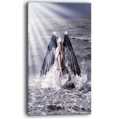 Designart Woman With Dark Angel Wings Canvas Art