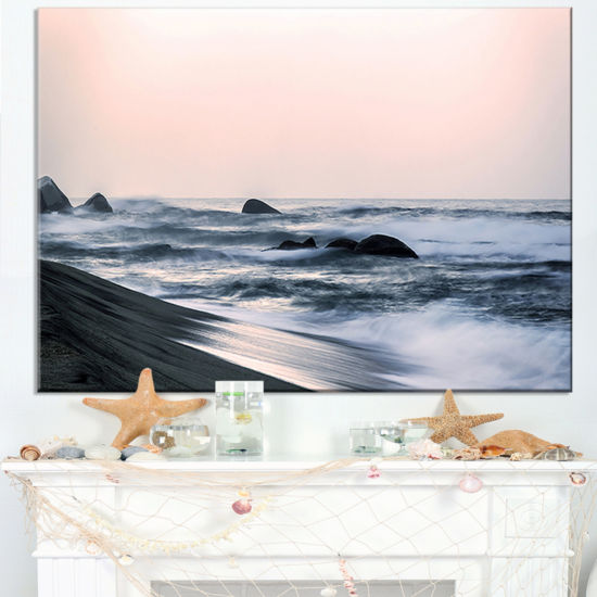 Designart Wonderful Long Exposure Sea Waves Canvas Art
