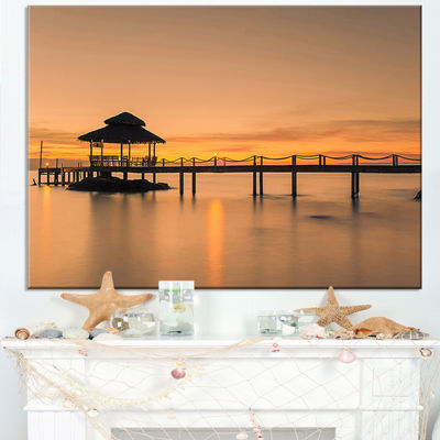 Designart Wonderful Wooden Pier And Hut Phuket Canvas Art