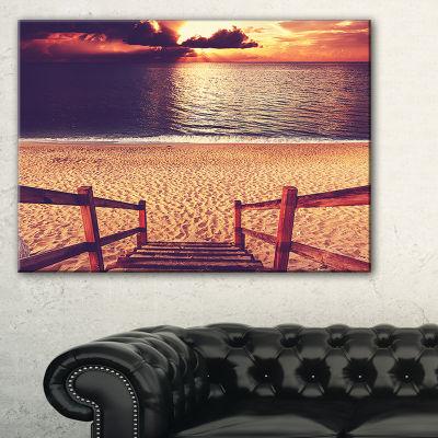Designart Wood Boardwalk In Beach At Evening Canvas Art