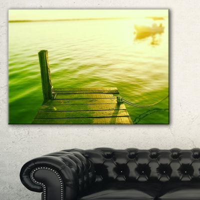 Designart Wooden Boardwalk In Green Sea Canvas Art