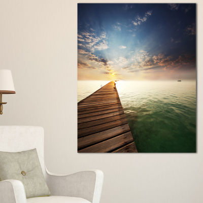 Designart Wooden Boardwalk Into Indefinite Sea Canvas Art
