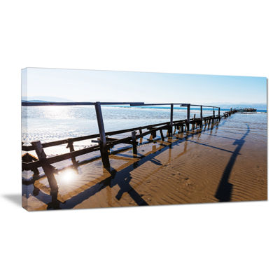 Designart Wooden Boardwalk On Beach Large Sea Bridge Canvas Art Print Canvas Art