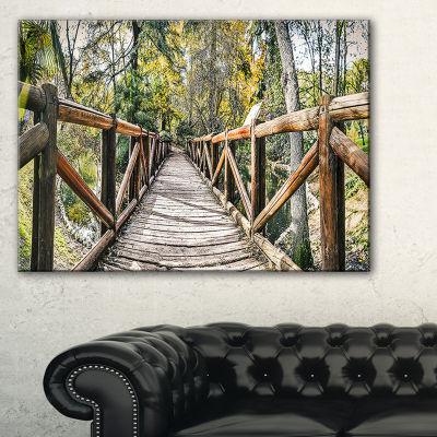 Designart Wooden Bridge In Forest Canvas Art