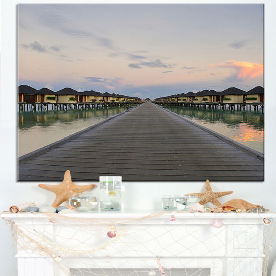Designart Wooden Bridge To Water Home Villas Canvas Art