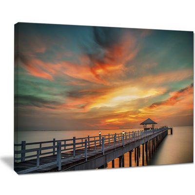 Designart Wooden Bridge Under Wonderful Sky Canvas Art