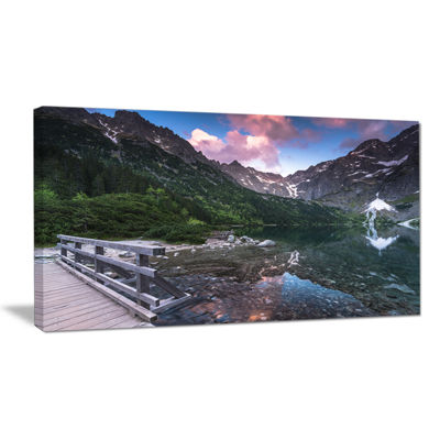 Designart Wooden Foot Bridge Over Lake Canvas Art