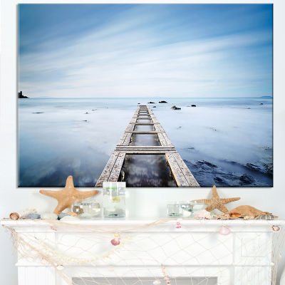 Designart Wooden Jetty In Morning Blue Sea Canvas Art