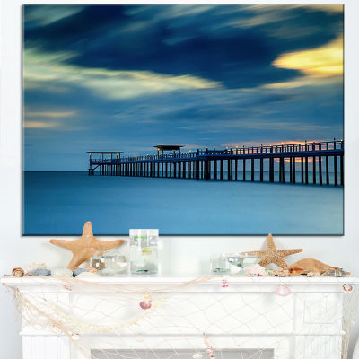 Designart Wooden Pier And Turquoise Seashore Canvas Art