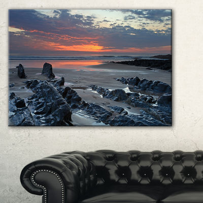 Designart Woolacombe North Devon Sunset Canvas Art