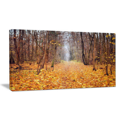 Designart Yellow Fallen Leaves In Morning Canvas Art