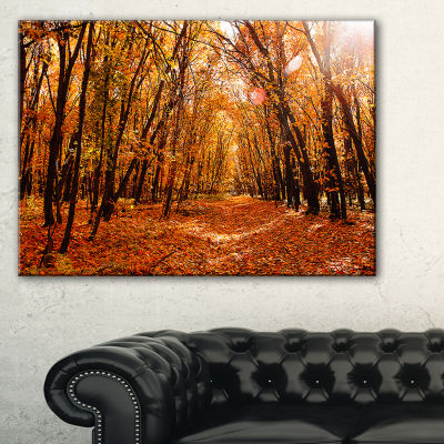 Designart Yellow Falling Leaves In Forest Canvas Art