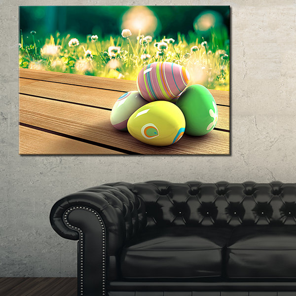 Designart Yellow Green Easter Eggs Canvas Art
