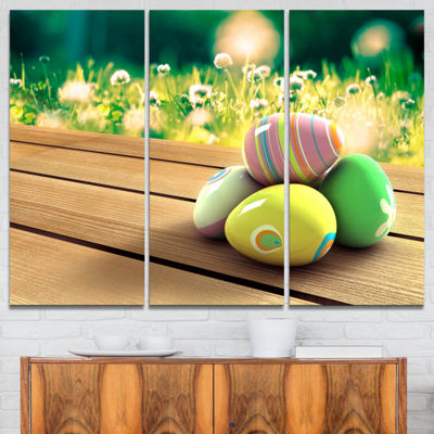 Designart Yellow Green Easter Eggs 3-pc. Canvas Art