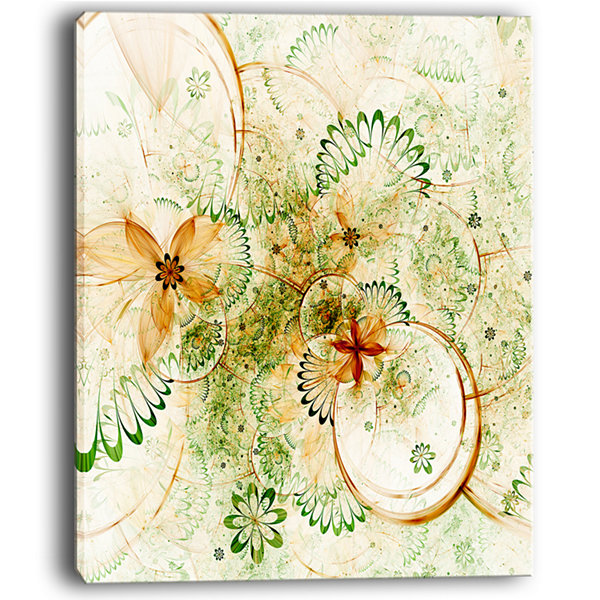 Designart Yellow Green Grungy Floral Shapes Canvas Art