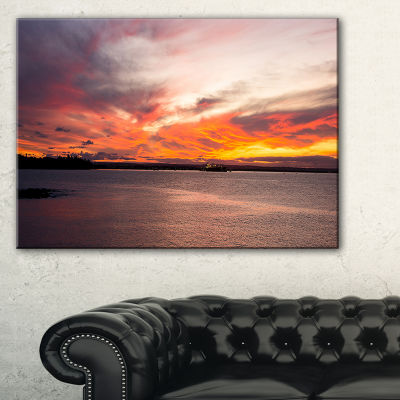 Designart Yellow Sky Over Calm Sydney Coast Canvas Art