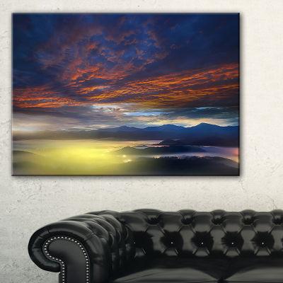 Designart Yellow Sunlight And Fiery Clouds Canvas Art